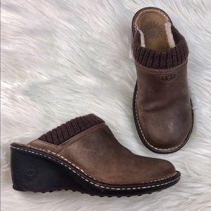 UGG Brown Gael Leather Wedge Mules
